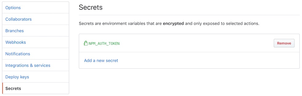 The GitHub secrets menu