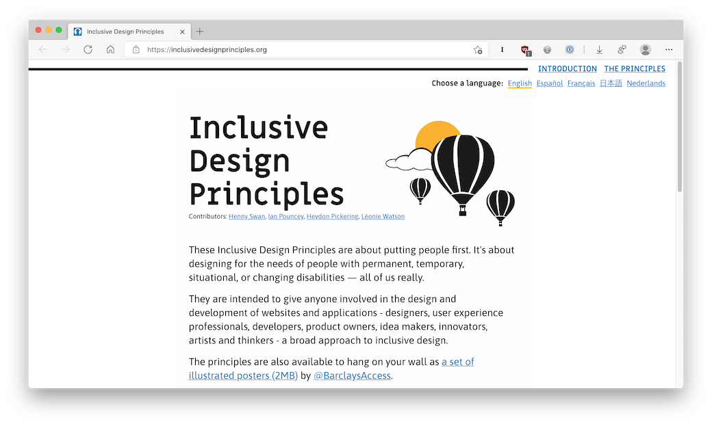 A screenshot of the Inclusive Design Principles website