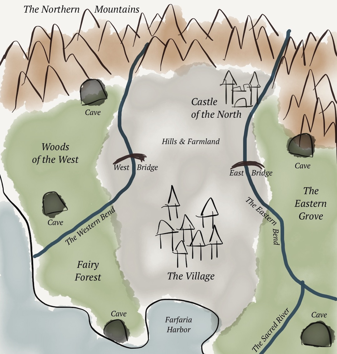 A map of the fictional land of Farfaria, with important locations and landmarks marked and labeled