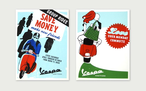 Vespa Hartford Silk Screen Posters