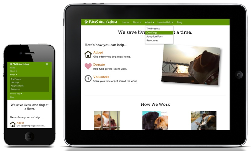 A picture of the PAWS New England navigation structure on both a mobile phone and a tablet