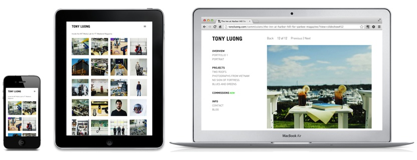 Tony's site at various screen sizes