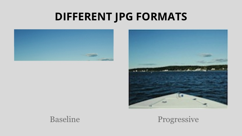 An example of baseline versus progressive JPG rendering