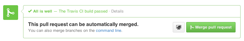 A screenshot of the Travis CI status message on a GitHub pull request